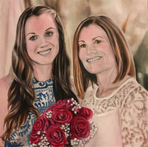 Wedding Oil Portrait of Mother and Daughter