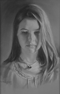 Pastel Pencil Portrait of Young Girl in sepia