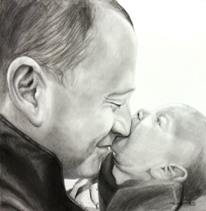 Father and baby charcoal portrait for Father's Day