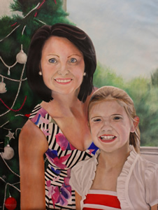 Mother and Daughter Oil Portrait Painting